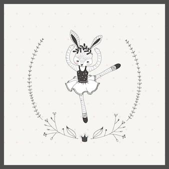 Nette gezeichnete gekritzelart der kleinen mädchenkaninchen-ballerina-karikatur hand
