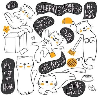 Nette gezeichnete gekritzelillustration der katze hand
