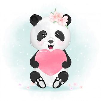 Nette gezeichnete illustration des pandas und des herzens hand