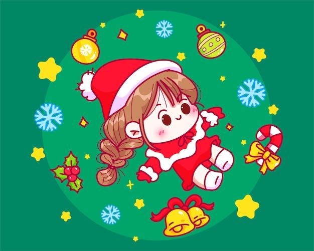 Nette gezeichnete karikaturkunstillustration des mädchens sankt und der weihnachtselementsammlung hand