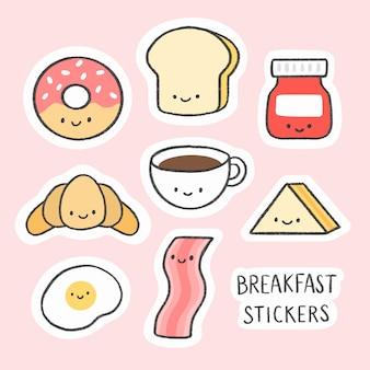 Nette gezeichnete karikatursammlung des frühstücksaufklebers hand