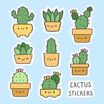 Nette gezeichnete karikatursammlung des kaktusaufklebers hand