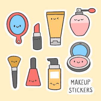 Nette gezeichnete karikatursammlung des make-upaufklebers hand