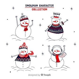 Nette gezeichnete sammlung des schneemanns hand mit winterkleidung