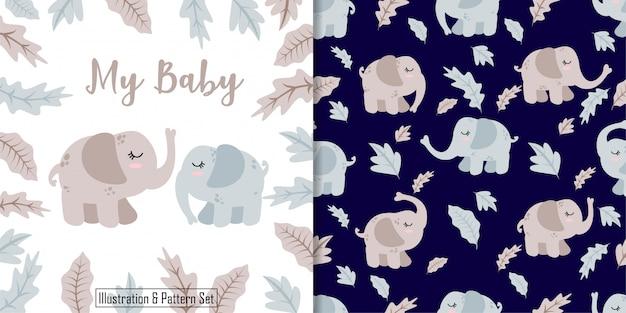 Nette gezeichneter nahtloser mustersatz der karte des baby-elefanten hand
