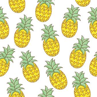 Nette gezeichnetes nahtloses muster der ananas hand