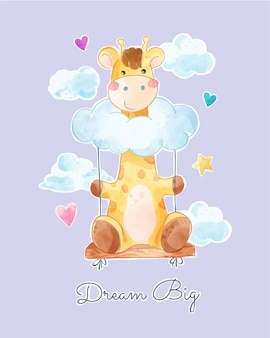 Nette giraffe auf clound swing illustration