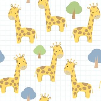Nette giraffe auf nahtlosem muster der gitterkarikatur