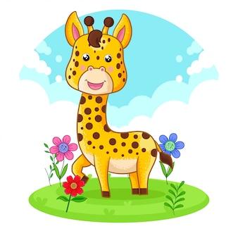 Nette giraffe, die auf einer blumenwiese steht.