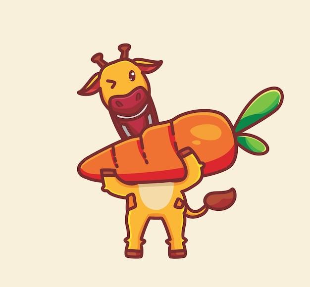 Nette giraffe, die ein großes karottenkarikaturtierfutterkonzept isst isolierte illustration flat style