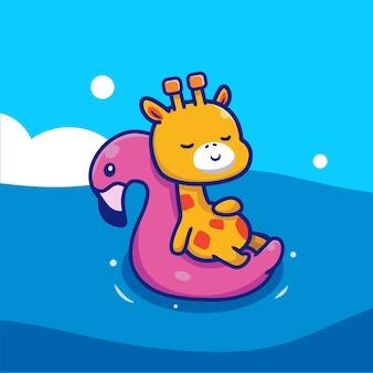 Nette giraffe, die mit schwimmendem flamingo schwimmt
