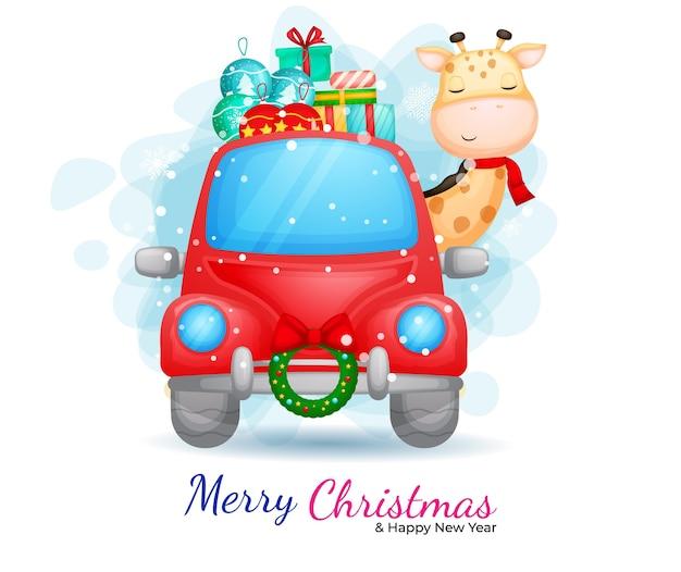 Nette giraffe, die rote autokarikaturillustration für weihnachtstag fährt.