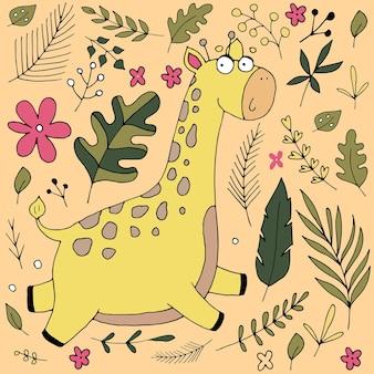 Nette giraffe lächelt in den blättern und in den blumen, niedliche babyillustration