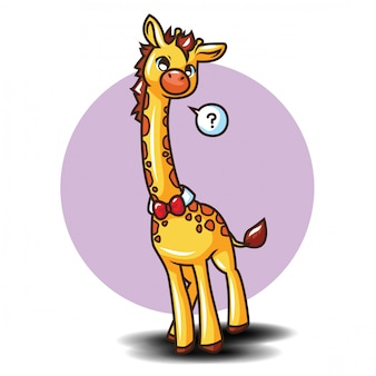 Nette giraffe zeichentrickfigur. tierkarikaturkonzept.