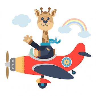 Nette giraffenfliege mit flugzeug