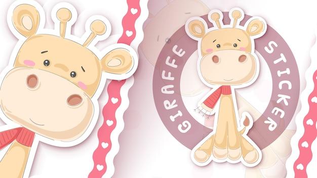 Nette giraffenidee für ihren aufkleber hand zeichnen