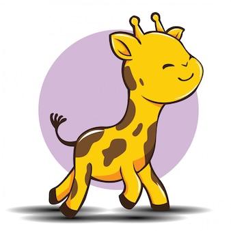 Nette giraffenkarikatur, nettes tierkonzept.