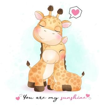Nette giraffenmutter und babyillustration