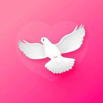 Nette glänzende weiße taube, die weise oben auf rosa für valentinstag fliegt