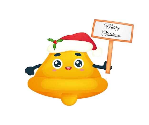 Nette glocke, die weihnachtszeichen mit weihnachtsmütze für frohe weihnachten-illustration hält premium-vektor