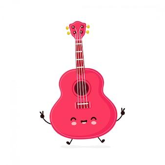 Nette glücklich lächelnde ukulelengitarre. zeichentrickfigur.