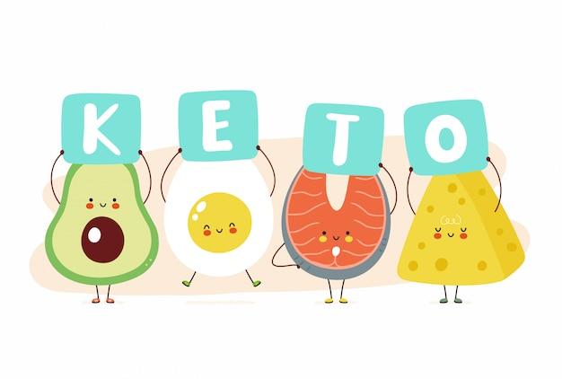Nette glückliche avocado, ei, roter fisch und käse halten ketozeichen. auf weißem hintergrund isoliert. karikaturcharakter-illustrationskartenentwurf, einfacher flacher stil. keto-diätkarte, banner-design-konzept