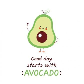 Nette glückliche avocado. isoliert auf weiss vektorzeichentrickfilm-figur-illustrationsdesign, einfache flache art. guten tag beginnt mit avocado-karte.