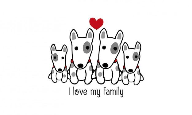 Nette glückliche bulldoggenfamilie sagen