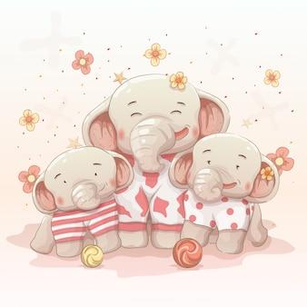 Nette glückliche elefantfamilie feiern weihnachten und neues jahr zusammen