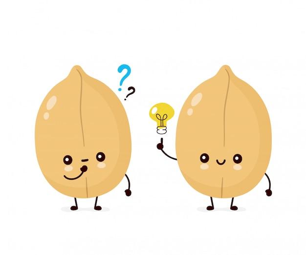 Nette glückliche erdnuss mit fragezeichen und glühlampe. flache cartoon charakter abbildung symbol. isoliert auf weiss nüsse