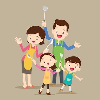 Nette glückliche familie, die kocht