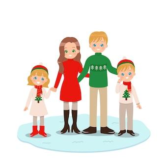 Nette glückliche familie, die warme kleidung für winterurlaub trägt.