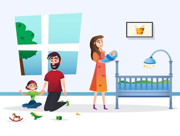 Nette glückliche familien-karikatur