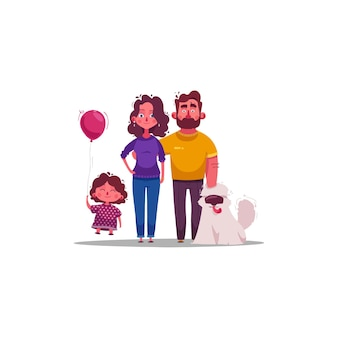 Nette glückliche familienillustration
