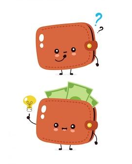 Nette glückliche geldbanknotengeldbörse mit fragezeichen und glühlampe. flache cartoon charakter abbildung symbol. isoliert auf weiss brieftasche