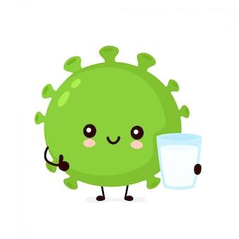 Nette glückliche gute probiotische bakterien mit joghurt. zeichentrickfigur.