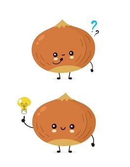 Nette glückliche haselnuss mit fragezeichen und glühlampe. flache cartoon charakter abbildung symbol. isoliert auf weiss nüsse