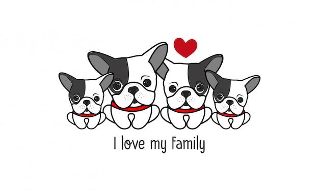 Nette glückliche hundefamilie sagen