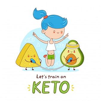 Nette glückliche junge frau springen auf seil mit avocado und käse. cartoon charakter aufkleber illustration. auf weißem hintergrund isoliert. keto-diät-konzept