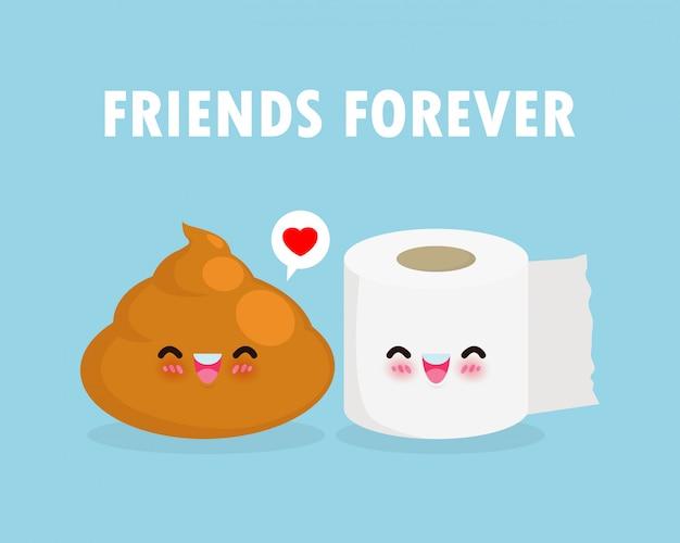 Nette glückliche kacke und toilettenpapier lustige zeichentrickfigur. bild lächeln cartoon chibi toilettenpapier und scheiße. beste freunde