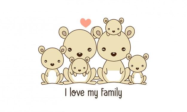 Nette glückliche kängurufamilie sagen