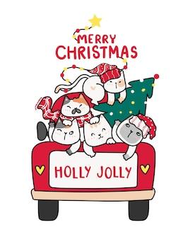 Nette glückliche kätzchenkatze mit weihnachtsbaum auf rotem lkw-auto, frohe weihnachten wort, stechpalme lustig, karikatur gekritzel clipart flachen vektor, für grußkarte, geschenk, druck