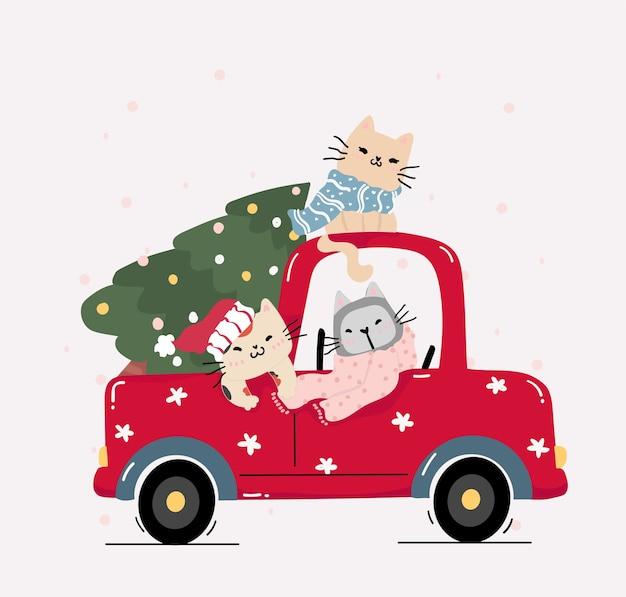 Nette glückliche kätzchenkatze mit weihnachtsbaum auf rotem lkw-auto mit kiefernweihnachtsbaum, karikaturcharakter clipart flach
