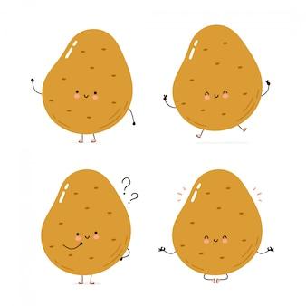 Nette glückliche kartoffelzeichensatzsammlung. isoliert auf weiss vektorzeichentrickfilm-figur-illustrationsdesign, einfache flache art. kartoffel gehen, trainieren, denken, meditieren konzept