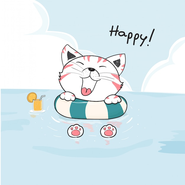 Nette glückliche katze im rettungsring auf dem seezeichnungsvektor