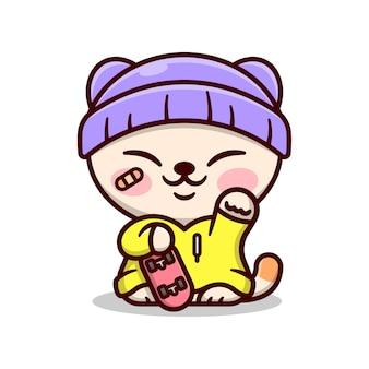 Nette glückliche katze trägt urban outfit und hält ein rotes skateboard und glücklich lächelndes cartoon-maskot und charakter