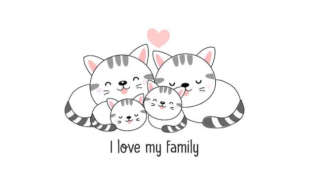 Nette glückliche katzenfamilie sagen