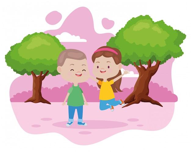 Nette glückliche kinder, die spaßkarikaturen haben