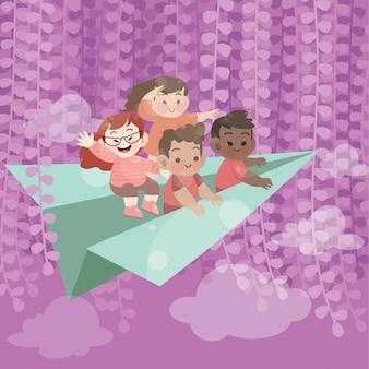 Nette glückliche kinder spielen auf dem fliegenden vektor des fliegenden papierhimmels