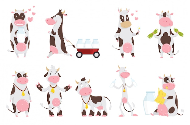 Nette glückliche kuhsammlungskarikatur mit milchflasche. kuh, die gras, lustige viehzeichentrickfilm-figur isst.